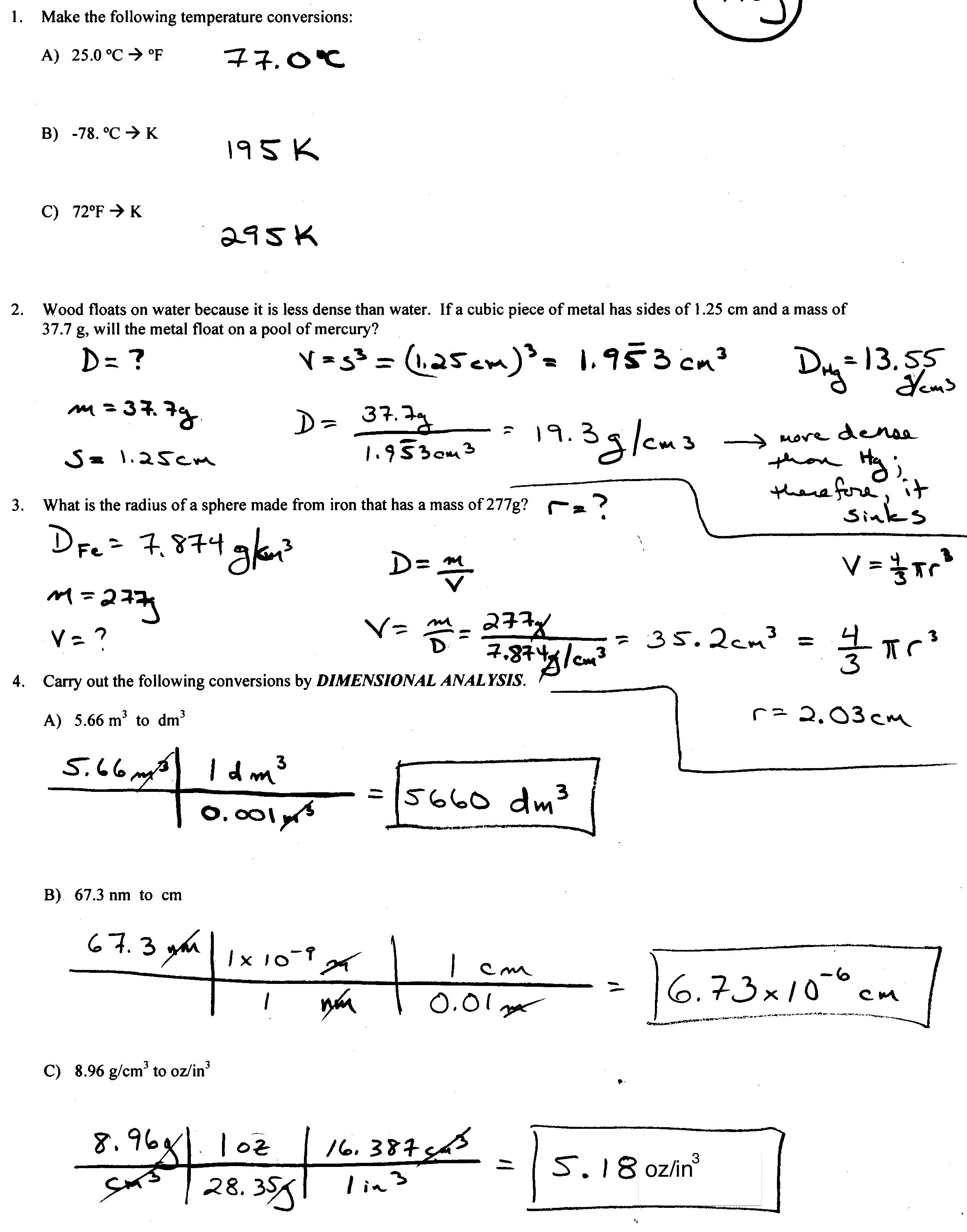 CHEM 192 Lecture – Dimensional Analysis Worksheet Answers