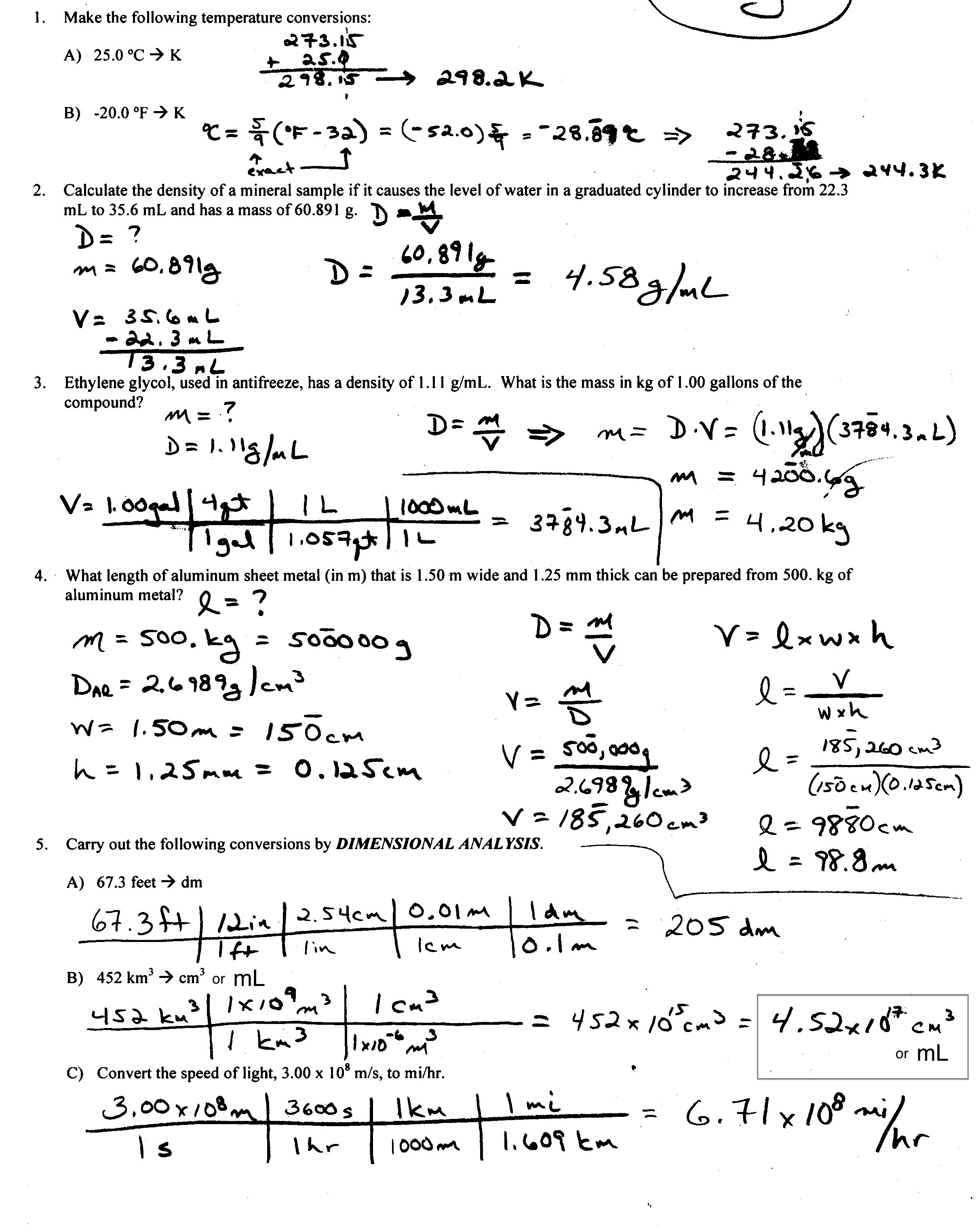 CHEM 192 Lecture – Dimensional Analysis Problems Worksheet